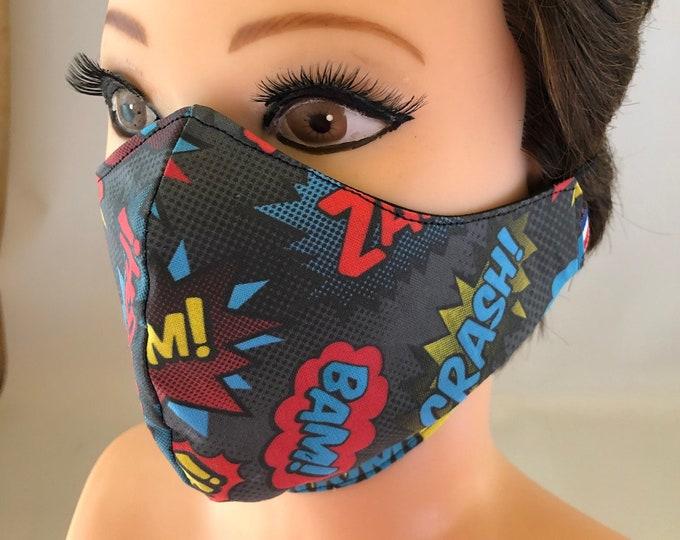Washable 3 layers, Reversible Cotton Face Mask Comic Crash Boom Pow Zap Kapow