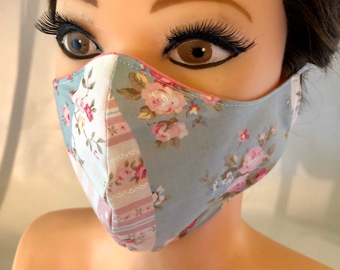 Washable 3 layers, Reversible Japanese Cotton Face Mask shabby chic patches and pink