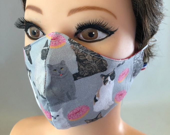 Washable 3 layers, Reversible Cotton Face Mask Cats and Doughnuts