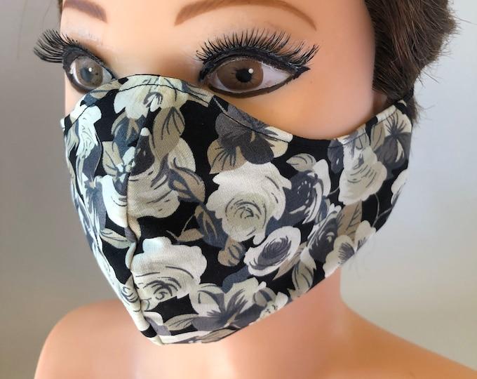 Washable 3 layers, Reversible Cotton Face Mask Flowers/black