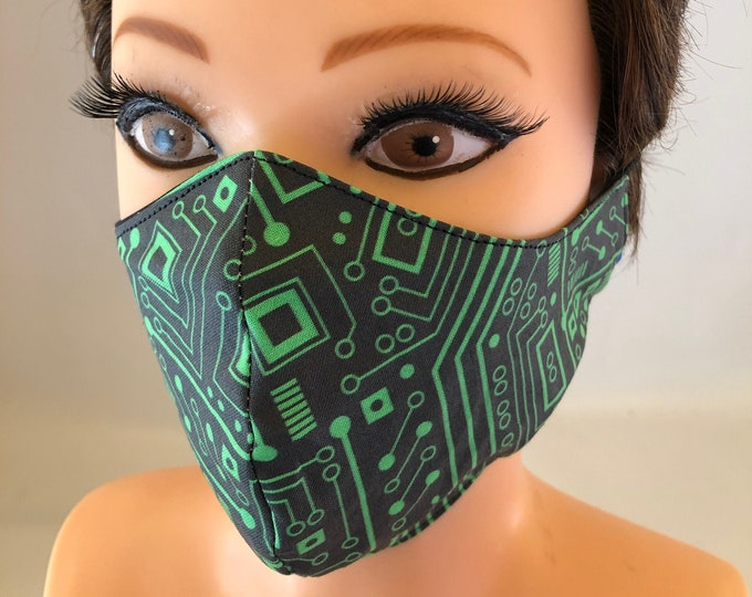 Washable 3 layers, Reversible Cotton Face Mask IT, computer science, electric board, circuits