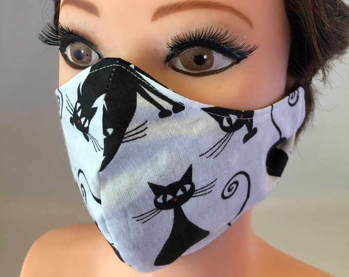 Washable 3 layers, Reversible Cotton Face Mask Cats and stars black and white