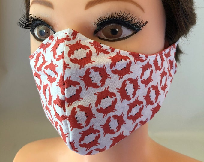 Washable 3 layers, Reversible Cotton Face Mask Crabs