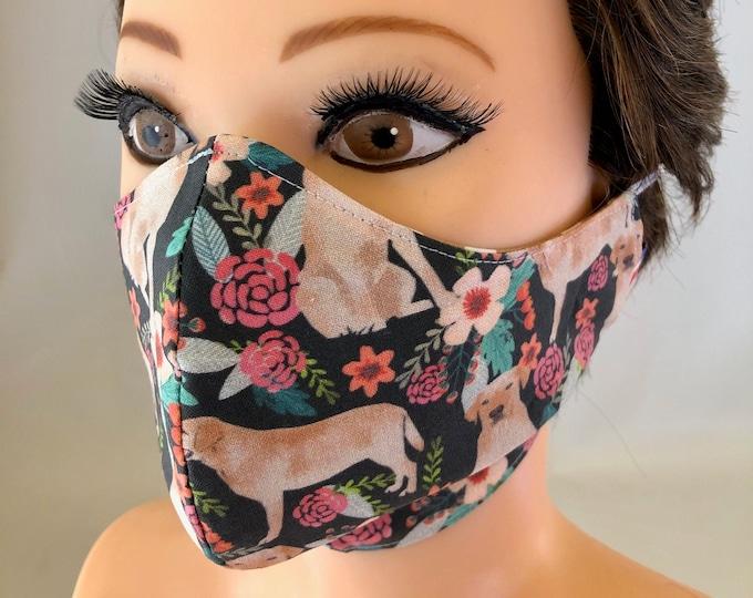 Washable 3 layers, Reversible Cotton Face Mask Labrador, Golden Labrador, Lab, Labrador retriever
