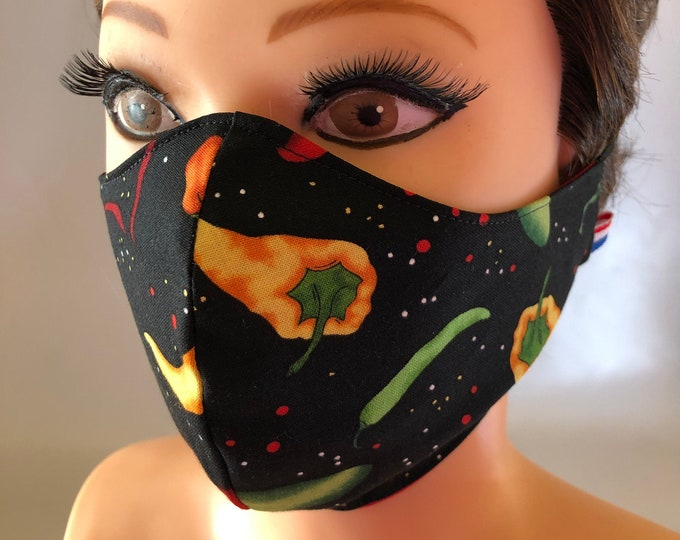 Washable 3 layers, Reversible Cotton Face Mask Chilli Peppers