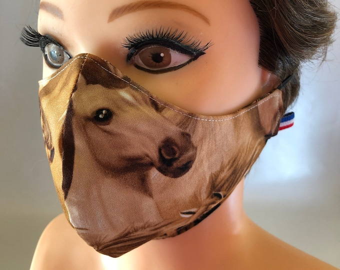 Washable 3 layers, Reversible Cotton Face Mask Horses