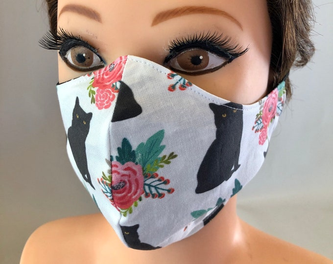 Washable 3 layers, Reversible Cotton Face Mask Black Cats