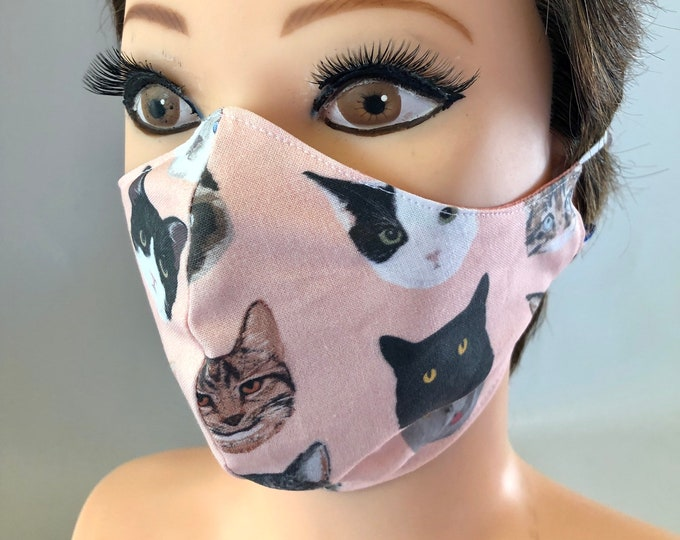 Washable 3 layers, Reversible Cotton Face Mask Pink Cats