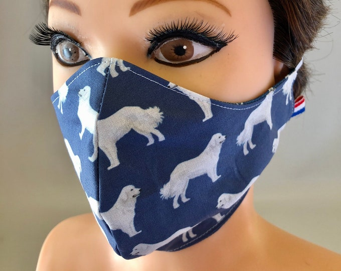Washable 3 layers, Reversible Cotton Face Mask Great Pyrenees Dogs, Pyrenean Mountain Dog, Pyr
