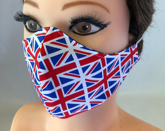 Washable 3 layers, Reversible Cotton Face Mask Patriotic, Union Flag, United Kingdom, Union Jack, England