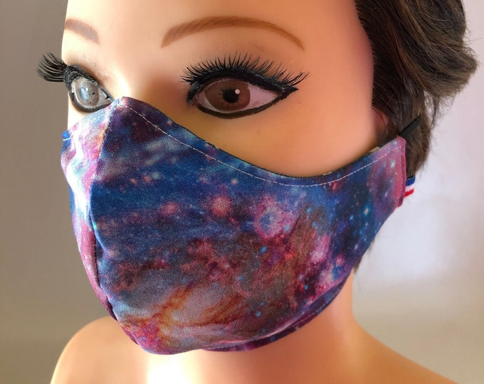 Washable 3 layers, Reversible Cotton Face Mask Space and Stars