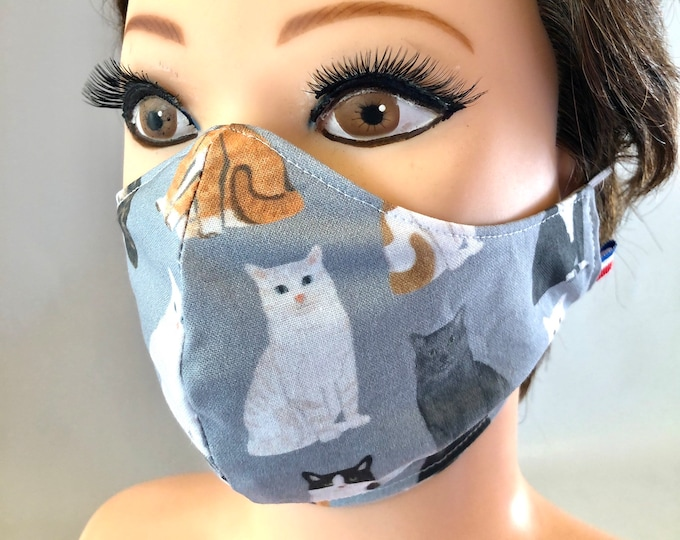Washable 3 layers, Reversible Cotton Face Mask Grey Cats