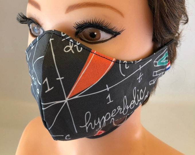 Washable 3 layers, Reversible Cotton Face Mask Maths, Geometry, School Mask, Teacher's Mask, Teachers Gift