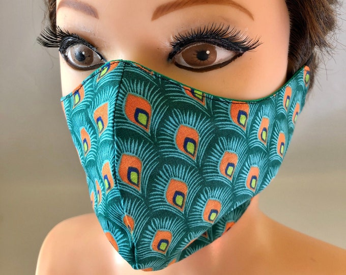 Washable 3 layers, Reversible Cotton Face Mask Peacock feathers and plain green