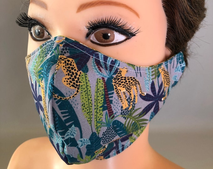 Washable 3 layers, Reversible Cotton Face Mask jungle and leaves
