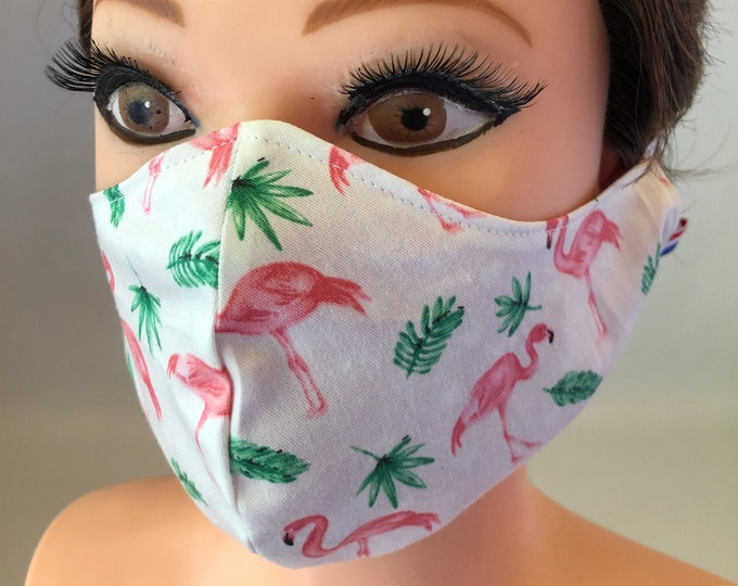 Washable 3 layers, Reversible Cotton Face Mask Pink Flamingos and hearts