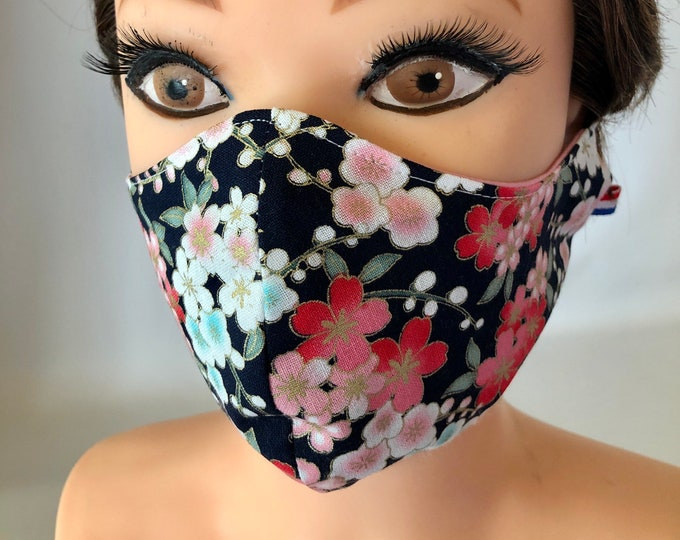 Washable 3 layers, Reversible Cotton Face Mask Colorful flowers with gold