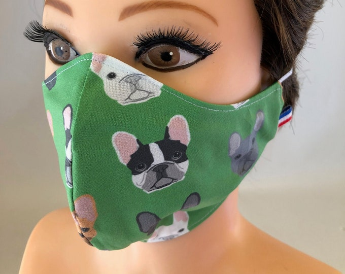 Washable 3 layers, Reversible Cotton Face Mask French Bulldog Dogs, Frenchie