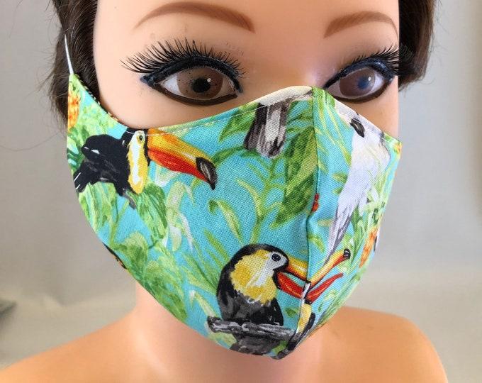 Washable 3 layers, Reversible Cotton Face Mask Toucans and Parrots
