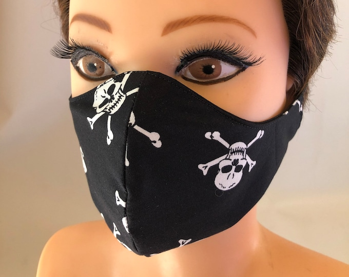 Washable 3 layers, Reversible Cotton Face Mask Skeletons Skulls Crossbones