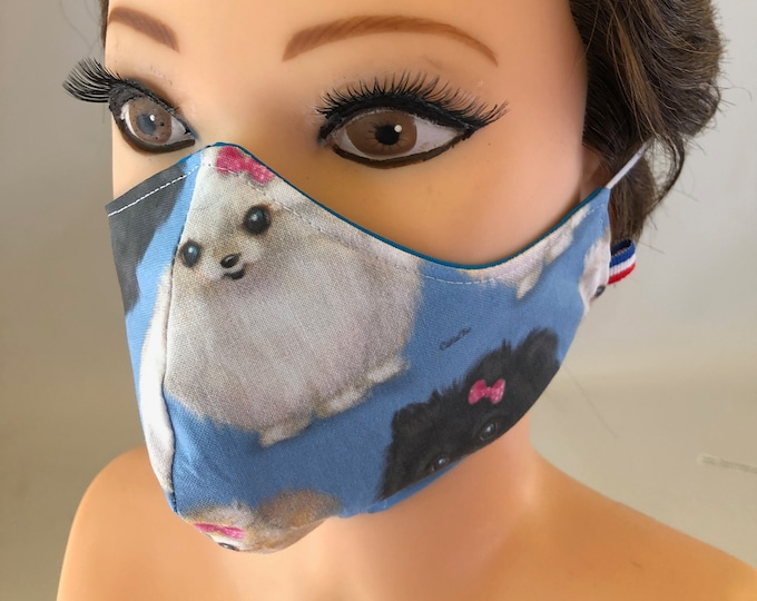 Washable 3 layers, Reversible Cotton Face Mask Pomeranian Dogs, Pompoms