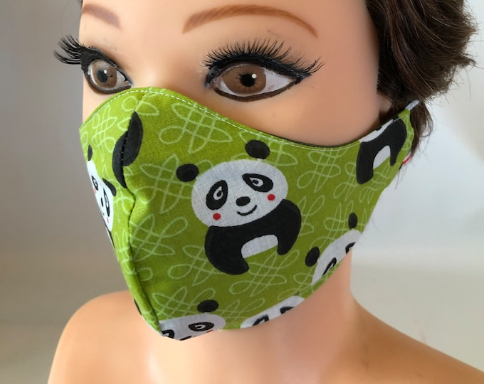 Washable 3 layers, Reversible Cotton Face Mask Pandas Green