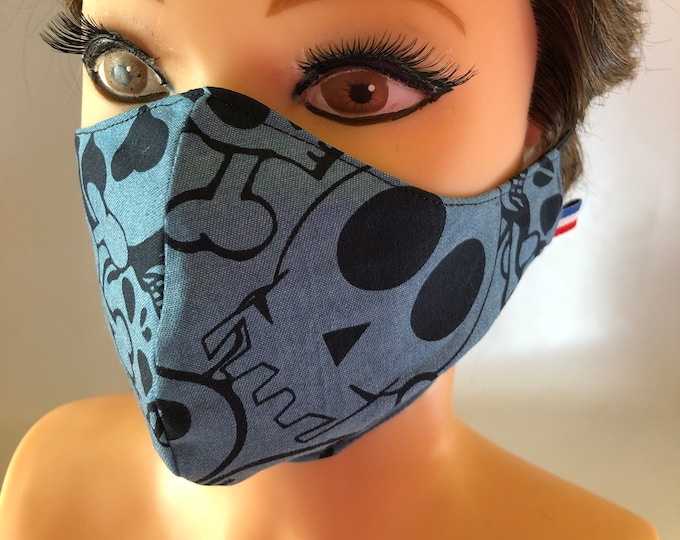 Washable 3 layers, Reversible Cotton Face Mask Skulls Blue
