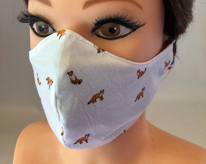 Washable 3 layers, Reversible Cotton Face Mask Foxes