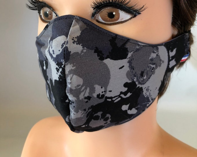 Washable 3 layers, Reversible Cotton Face Mask Camouflage Camo Skulls