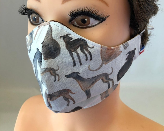 Washable 3 layers, Reversible Cotton Face Mask Greyhound Dogs