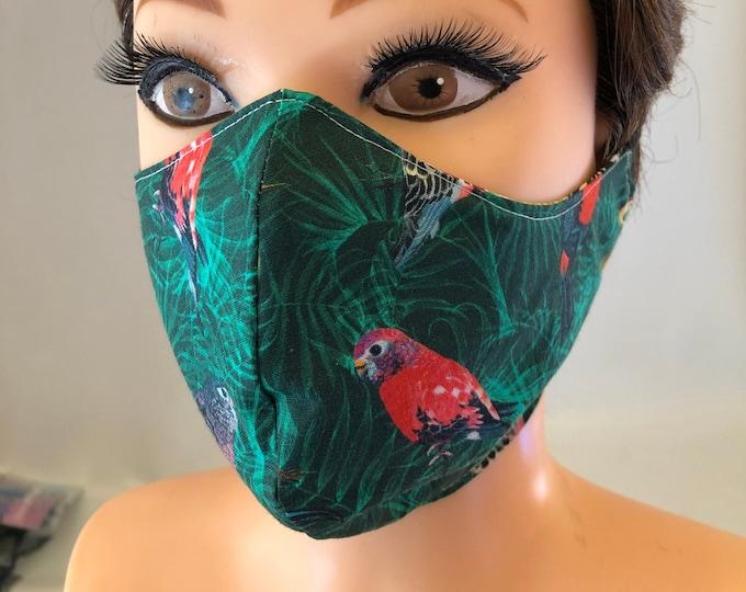 Washable 3 layers, Reversible Cotton Face Mask Exotic birds