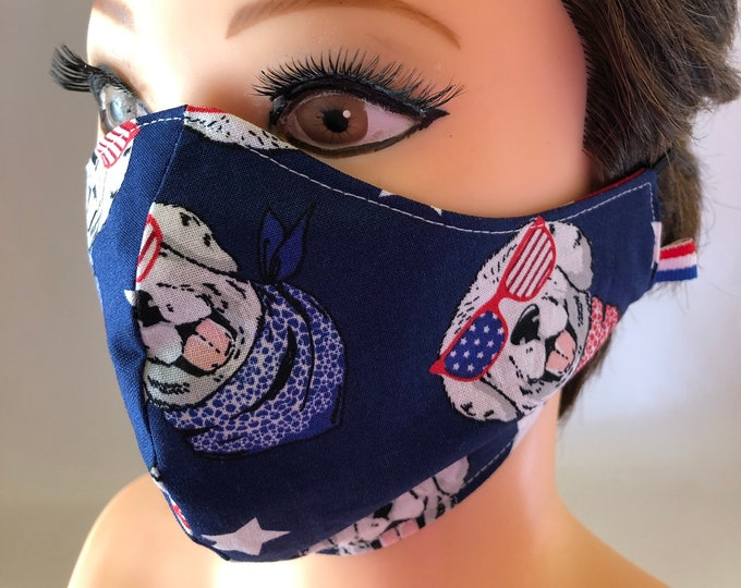 Washable 3 layers, Reversible Cotton Face Mask American Patriotic Dogs and Stars