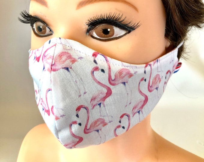Washable 3 layers, Reversible Cotton Face Mask Flamingos
