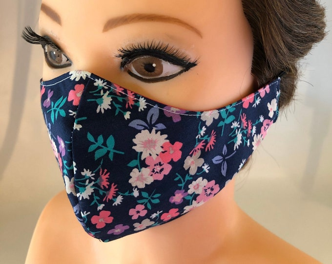 Washable 3 layers, Reversible Cotton Face Mask dark flowers and pink