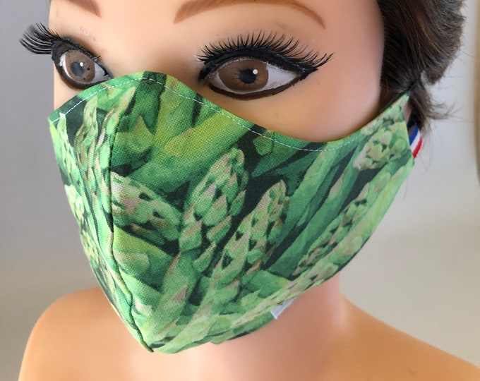 Washable 3 layers, Reversible Cotton Face Mask Asparagus and Green Stars