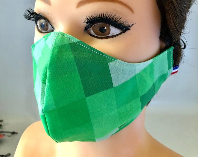 Washable 3 layers, Reversible Cotton Face Mask Green Pixel Blocks