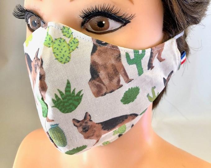 Washable 3 layers, Reversible Cotton Face Mask German Shepherd Dogs, Alsatian dogs