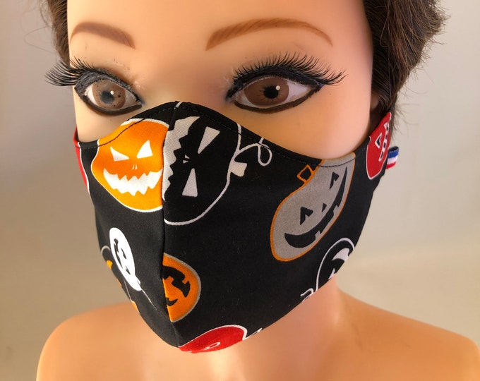 Washable 3 layers, Reversible Cotton Face Mask Pumpkins Halloween