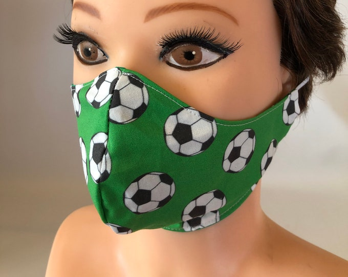 Washable 3 layers, Reversible Cotton Face Mask Football Soccer