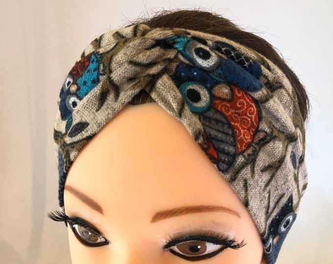 Owls Knotted Headband, Turban Headband, Fabric Headband, Sports/Yoga headband, Mother's Day Gift, Women's Gift