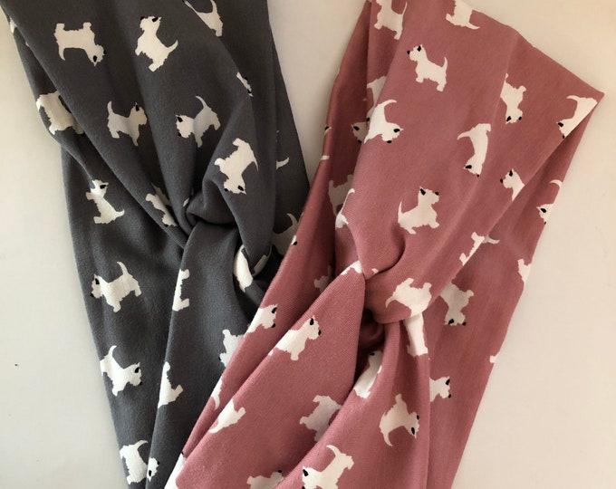 2 x Dogs Design Pink and Grey Knotted Headband, Turban Headband, Fabric Headband, Sports/Yoga headband, Mother's Day Gift, Women's Gift