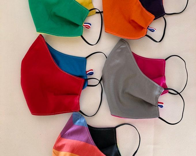 Pack of 5 Washable 3 layers, Reversible Cotton Face Masks Back to School Collection, La Rentrée