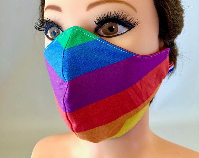 Washable 3 layers, Reversible Cotton Face Mask Pride, LGBTQ, Rainbow