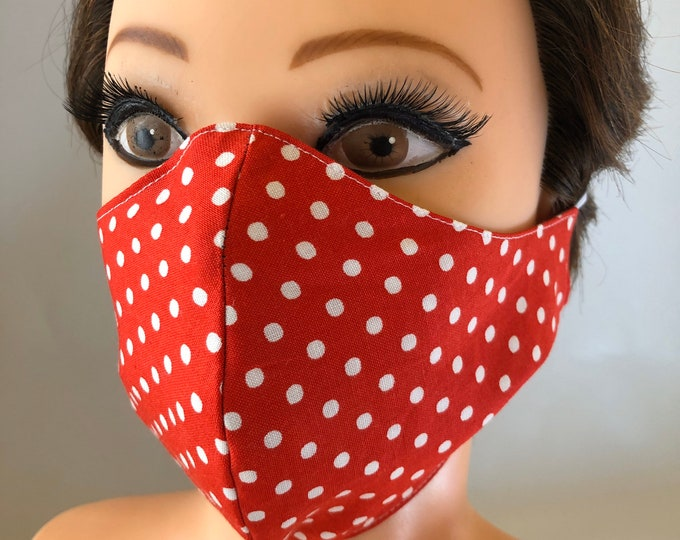 Washable 3 layers, Reversible Cotton Face Mask Red and white dots