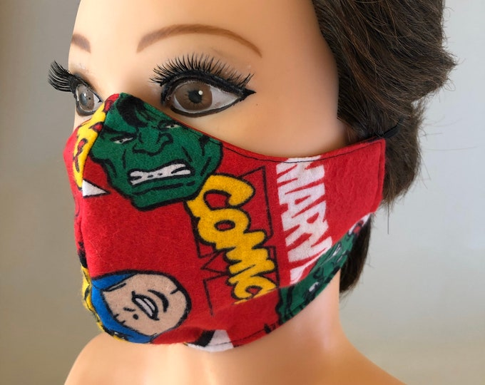 Washable 3 layers, Reversible Cotton Face Mask Marvel comics Hulk, Ironman, Spiderman, Captain America and red