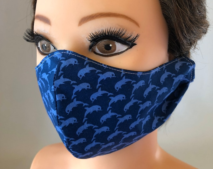 Washable 3 layers, Reversible Cotton Face Mask Dolphins and dark blue
