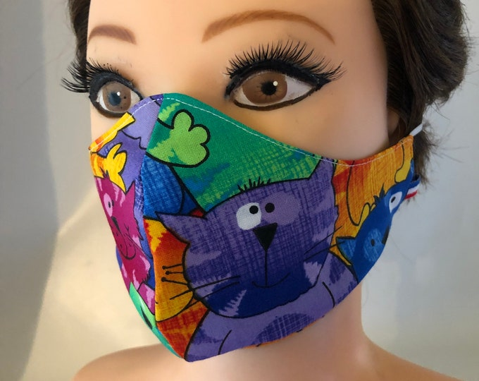 Washable 3 layers, Reversible Cotton Face Mask Coloured Cats and Stars