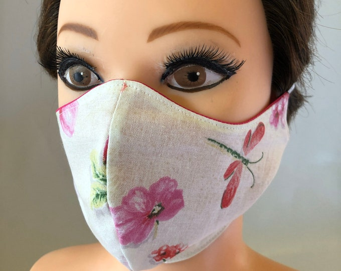 Washable 3 layers, Reversible Cotton Face Mask Poppies and pink