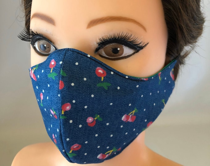 Washable 3 layers, Reversible Cotton Face Mask Cherries and green