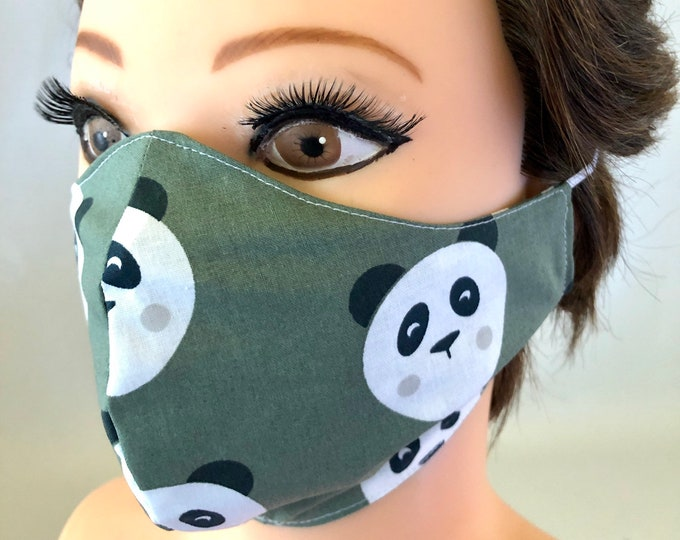 Washable 3 layers, Reversible Cotton Face Mask Pandas and green